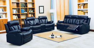 BLACK RECLINING NAPLES SOFA AND LOVESEAT SET ONLY 699! ONLY 54.00 DOWN!! NO CREDIT NEEDED FINANCING for Sale in Tampa, FL