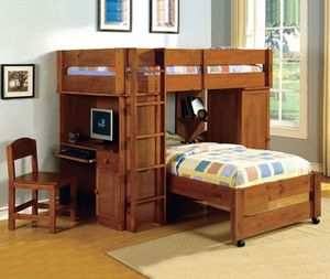 HONEY OR DARK COLOR TWIN BUNK BED W/WORKSTATION /NO MATTRESS INCLUDED for Sale in Ontario, CA