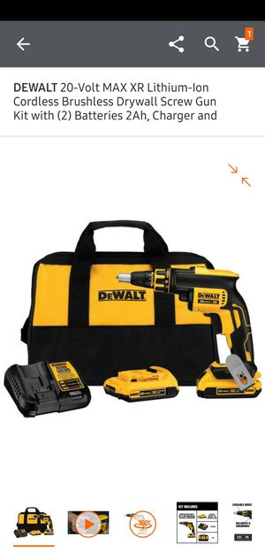 DEWALT 20-Volt MAX XR Lithium-Ion Cordless Brushless Drywall Screw Gun Kit with (2) Batteries 2Ah, Charger and Contractor Bag for Sale in Dumfries, VA