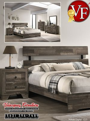 **FACTORY DISCOUNT** 4PCS FULL SIZE BEDROOM SET FRAME+NIGHTSTAND+DRESSER+MIRROR $548 for Sale in Garden Grove, CA
