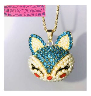 """Betsey Johnson """"YOU SLY 🦊 FOX!"""" Super gorgeous blue & white pearly accent Fox 🦊 necklace NEW! for Sale in Carrollton, TX"""