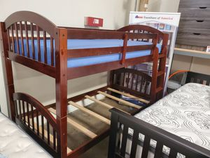 Dana Wood Stains Twin/Twin Arch Stackable Bunk Bed, Cherry for Sale in Norwalk, CA