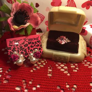 Pink Sapphire W/ White Sapphire On Rose Gold Band .925 sterling & Betsey Johnson Necklace Sz6 Gift 🎁 for Sale in Macedonia, OH