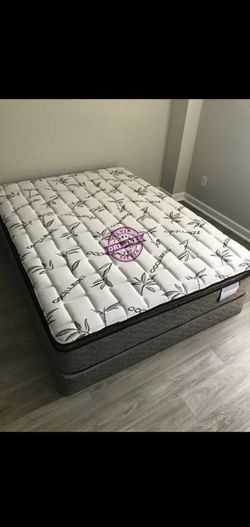 QUEEN MATTRESS PILLOW TOP COMFORT WITH BOX SPRING SET 👸ALL SIZES AVAILABLE KING QUEEN FULL TWIN 👸BED FRAME NOT INCLUDED COLCHONES CAMAS NUEVOS for Sale in North Miami Beach,  FL