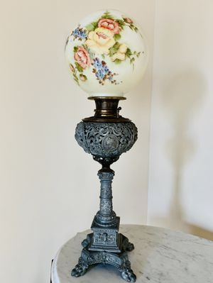 Antique wrought iron lamp with glass shade for Sale in Seattle, WA