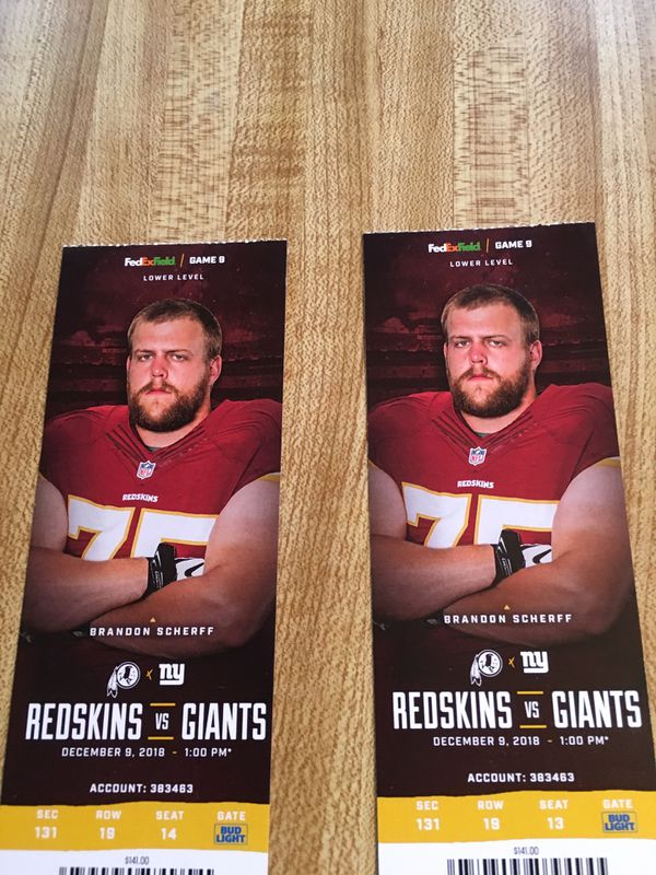 Skins vs Giants Tickets -Lower Level