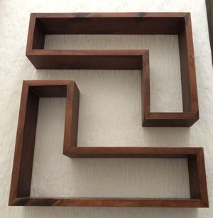 2 L-shaped floating wall shelves/decor, solid wood. for Sale in Norfolk, VA