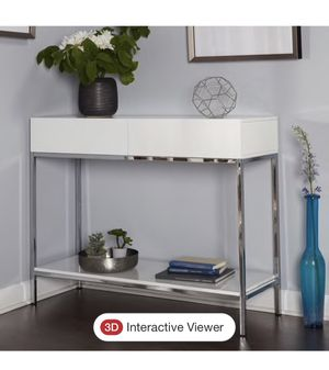 Simple Living White Wood and Chrome Metal High Gloss Console Table for Sale in Monroe, WA