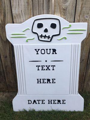 Wood Carved Halloween Headstone Yard Art for Sale in Bakersfield, CA
