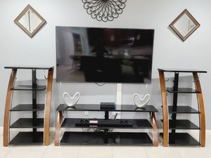 3 pieces entertainment center, 3 pieces glass tv stand for Sale in West Palm Beach, FL