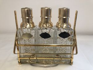 RARE Mid Century Modern Hollywood Regency Pressed Glass Pump Decanters for Sale in CT, US