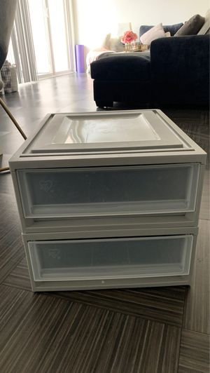 2 bed bath and beyond stackable plastic gray drawers for Sale in Marina del Rey, CA