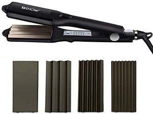 DSHOW 4 in 1 Hair Crimper Hair Waver Hair Straightener Curling iron with 4 Interchangeable Ceramic Flat Crimping Iron Plate, Black for Sale in Orange, CA
