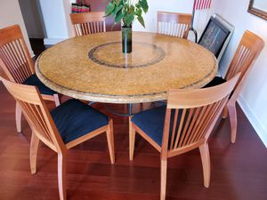 Arhaus Mosaic Dining Room Table With Cherry Wood Chairs!! for Sale in Cleveland, OH