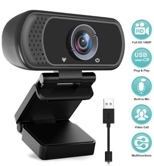 HD Webcam 1080P with Microphone, PC Laptop Desktop USB Webcams, Pro Streaming Computer Camera for Video Calling, Recording, Conferencing, Gaming, 110 for Sale in Barre, VT