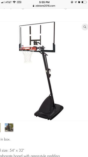 """Spalding NBA 54"""" Portable Angled Basketball Hoop Polycarbonate Backboad for Sale in Houston, TX"""
