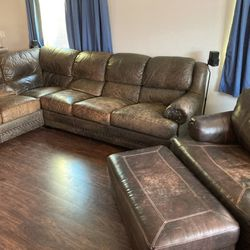 Real Leather Couch With Chair for Sale in Phoenix,  AZ