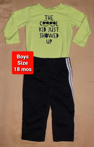 Boys size 18 months clothes Neon The Cool Kid Just Showed Up Onesie with Black Stripe Pants (#539) for Sale in Mesa, AZ
