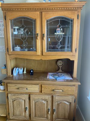 Antique Wooden + glass cabinet for Sale in Richmond, CA