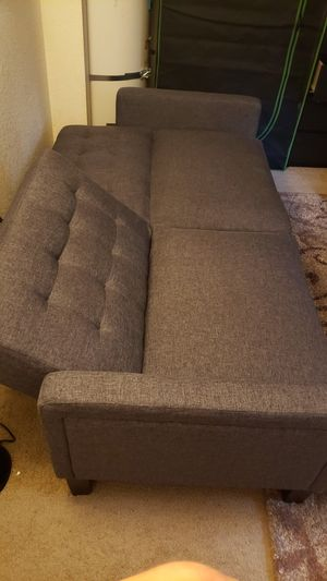 Charcoal Grey Reclining Sofa Futon for Sale in Wilsonville, OR