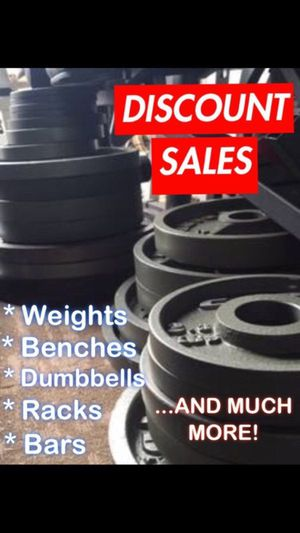 DISCOUNT SALES: WEIGHTS • BAR • BENCH • DUMBBELLS PLUS MORE GYM EQUIPMENT for Sale in San Diego, CA
