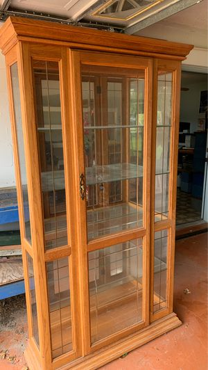 Antique Curio cabinet glass shelves $100 for Sale in Dade City, FL