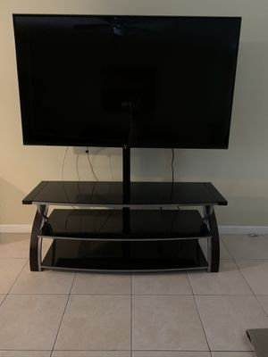 """Whalen Black TV Stand for 65"""" Flat Panel TVs with Tempered Glass Shelves for Sale in Margate, FL"""