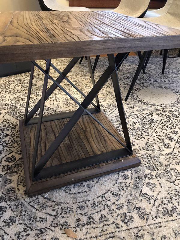 Wood & Steel End Table