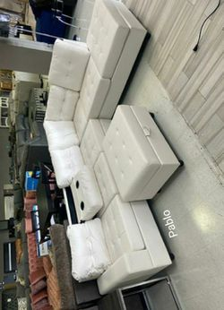 💲39 Down Payment⚡Pablo White Sectional And Ottoman for Sale in Washington,  DC