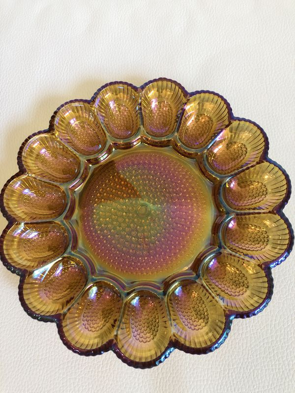 Vintage Carnival Glass Egg Platter