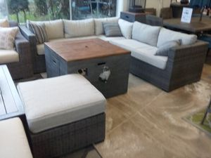 New 4pc outdoor patio furniture sectional sofa set with firepit tax included free delivery for Sale in Hayward, CA