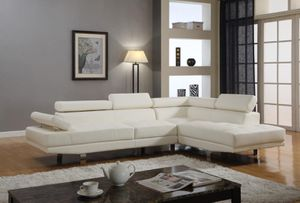Brand new white leather sectional sofa with adjustable arm/headrests. for Sale in Silver Spring, MD