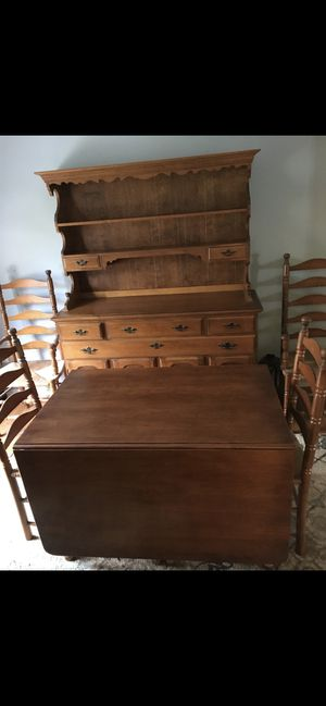 Antique maple drop leaf table and cane bottom chairs for Sale in Manassas, VA