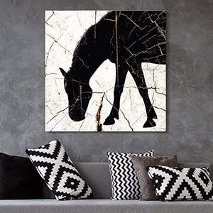 ((FREE SHIPPING)) square canvas wall art - horse silhouette wood effect canvas - giclee print gallery wrap modern home decor Painting like print for Sale in Millbrae, CA