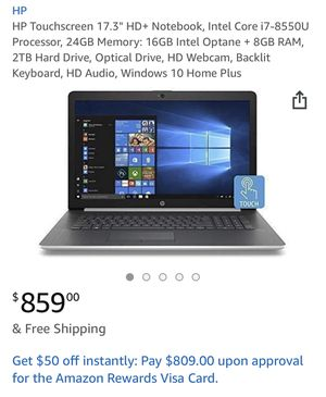 "HP Touchscreen 17.3"" HD+ Notebook, Intel Core i7-8550U Processor, 24GB Memory: 16GB Intel Optane + 8GB RAM, 2TB Hard Drive, Optical Drive, HD Webcam, for Sale in Alexandria, VA"