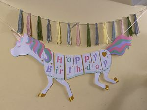 Unicorn happy birthday banner & unicorn swirl streamers for Sale in Silver Spring, MD