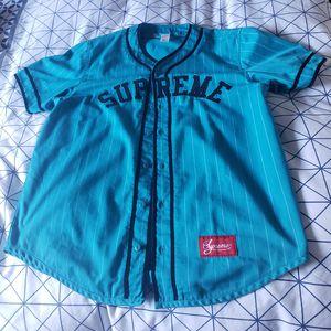 Supreme Pinstripe Baseball Jersey - Teal for Sale in Seattle, WA