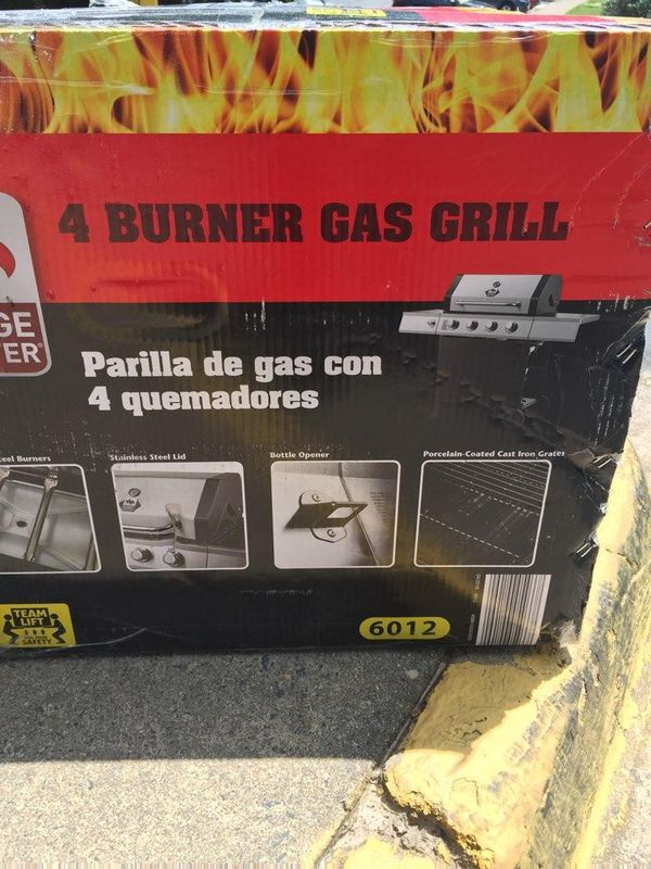 4 burner gas grill stain steel