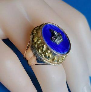 Vintage 14K Gold Enamel Diamonds Ring 23.71 Grams Size 9.5 for Sale in Los Angeles, CA