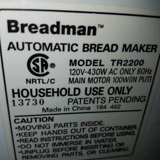Breadman Bread Maker