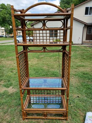 VERY NICE WICKER/BAMBOO SHELVING UNIT WITH GLASS SHELVES for Sale in Massillon, OH
