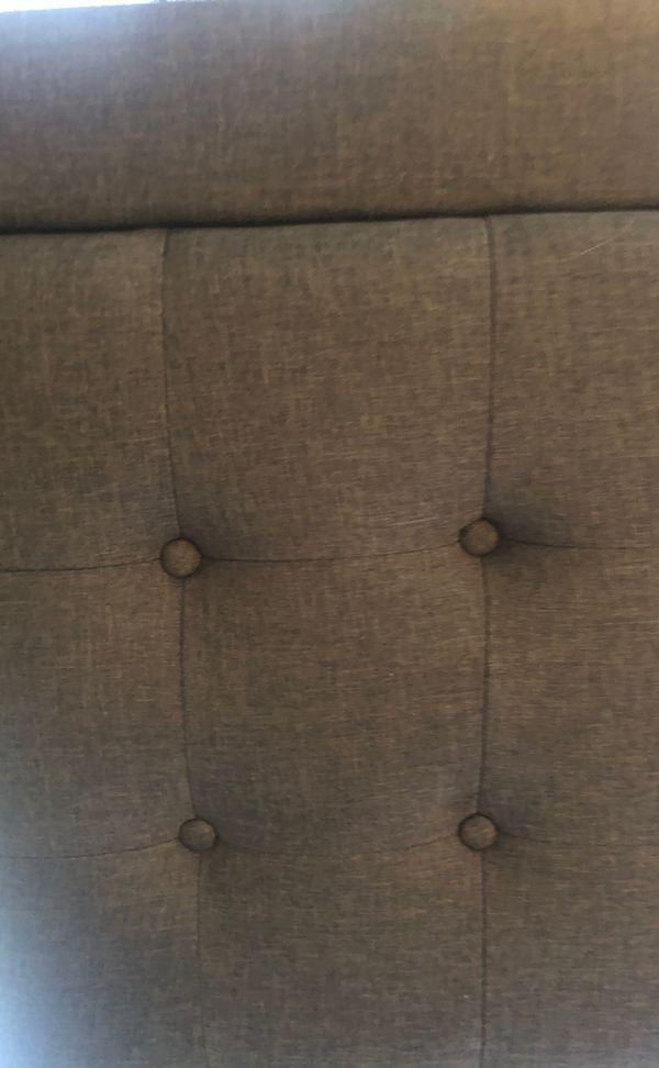 Grey upholstered headboard and frame for FULL