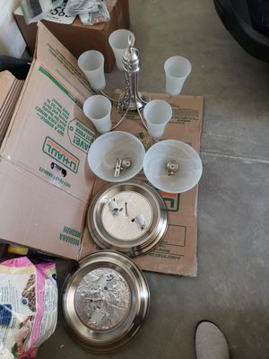 5 light chandelier and 2 overhead dome lights for Sale in Washington, DC
