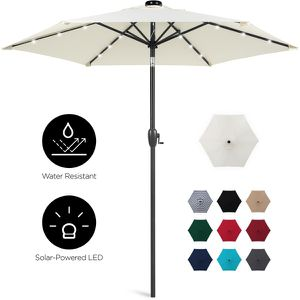 7.5ft Outdoor Solar Patio Umbrella for Deck, Pool w/ Tilt, Crank, LED Lights - Cream for Sale in Dublin, OH