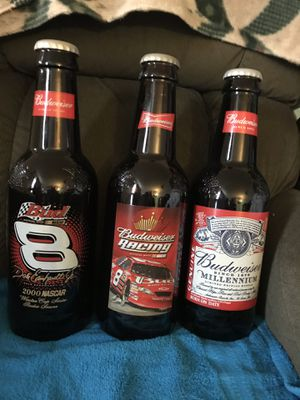 3 glass collectible Dale Jr. and Budweiser bottles. Pictures on front and on back for Sale in Sheffield Lake, OH