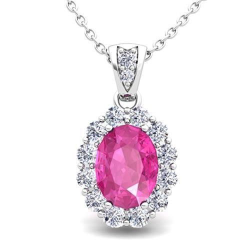 Oval Shaped Pink Sapphire With Diamond Lady Necklace Pendant White Gold 14K