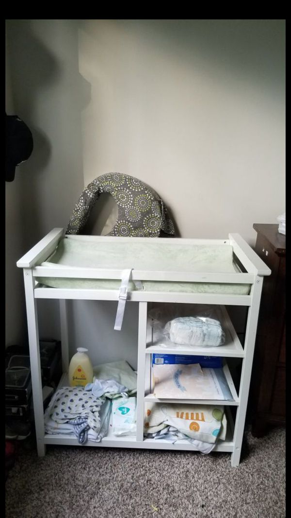 Changing table with shelves