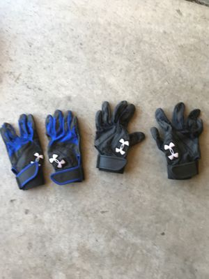 2 pairs of UnderArmor and 1 pair Easton baseball batting gloves for Sale in Denver, CO