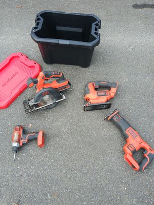 Black and Decker 20V tools plus drill and lots of batteries plus chargers for Sale in Seattle, WA