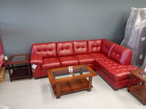 Salsa red leather sectional couch for Sale in Columbus, OH